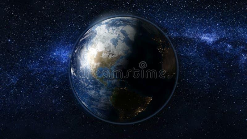 Planetuje ziemię w czarnym i błękitnym wszechświacie gwiazdy royalty ilustracja