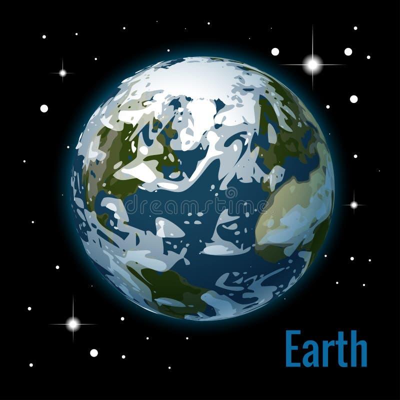 Planetuje ziemię z niektóre chmur 3d wektoru ilustracją Wysokiej jakości isometric układ słoneczny planety ilustracja wektor