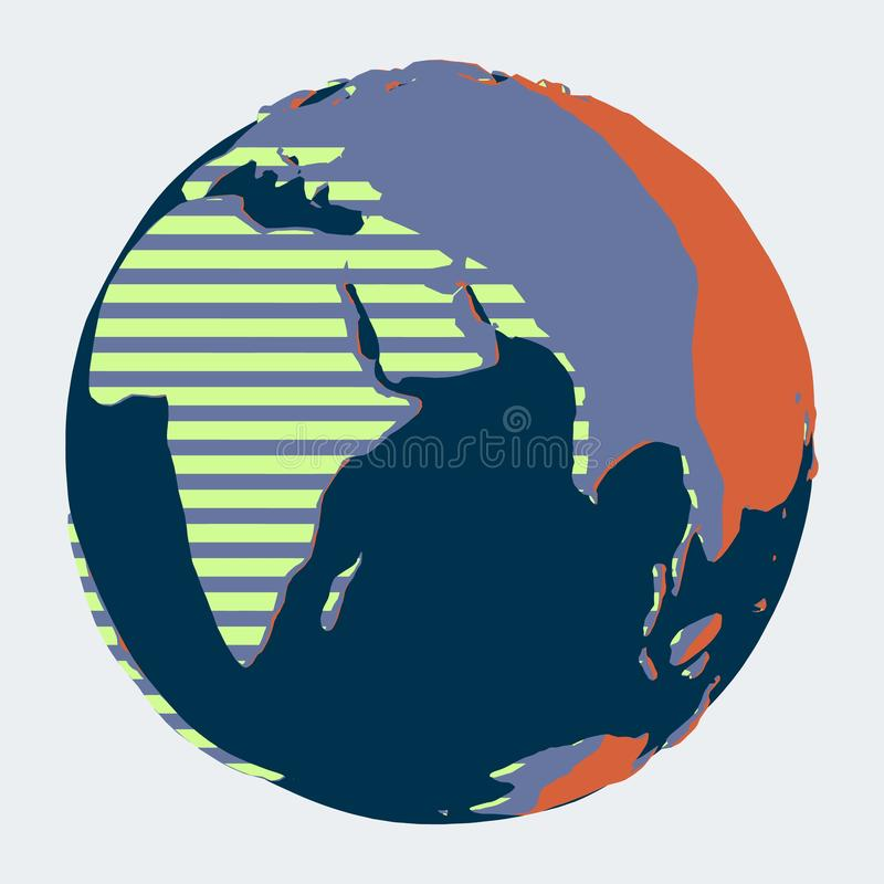 Planetuje ziemię z oceanem indyjskim, Europa i Afryka w abstrakcjonistycznym kontrasta stylu, ilustracja wektor