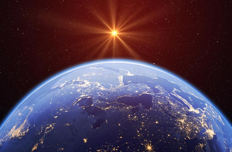 Planetuje ziemię z słońcem gwiazdami i, globalny model odizolowywający na bl ilustracja wektor