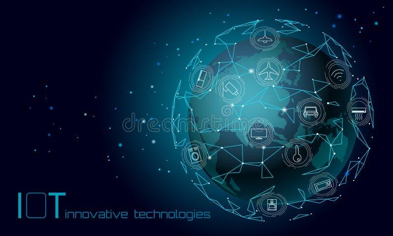 Planetuje Ziemskiego Azja kontynentu internet rzeczy ikony innowacji technologii pojęcie Bezprzewodowa sieć komunikacyjna IOT ilustracja wektor