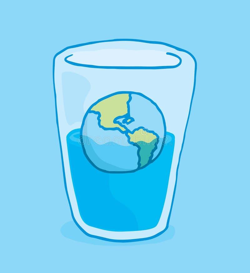 Planetuje ziemskiego wylew i słabnięcie w szkło woda royalty ilustracja