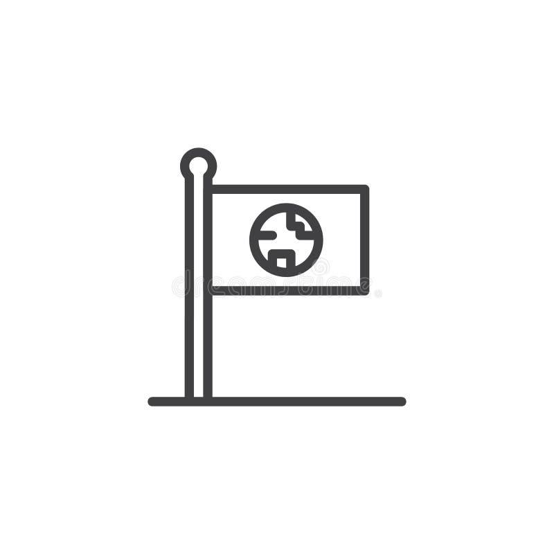 Planety flaga konturu ikona ilustracji