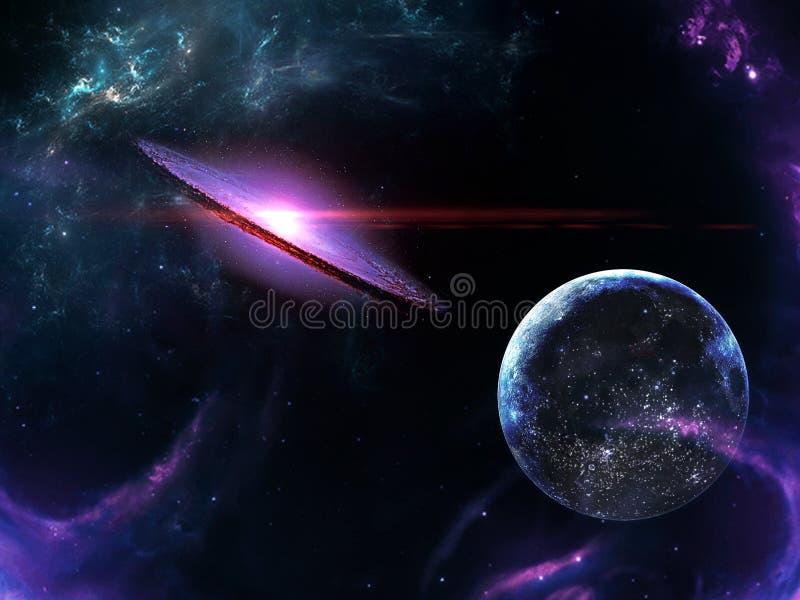 Planety i galaxy, nauki fikci tapeta Pi?kno g??boka przestrze? Miliardy galaxy w wszechrzeczym Pozaziemskim sztuki tle, Ver obrazy royalty free