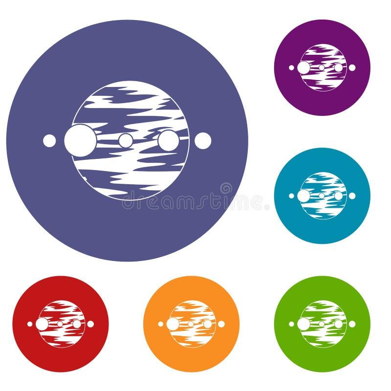 Planety i księżyc ikony ustawiać ilustracja wektor