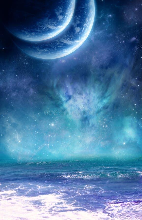 Planety i ocean royalty ilustracja