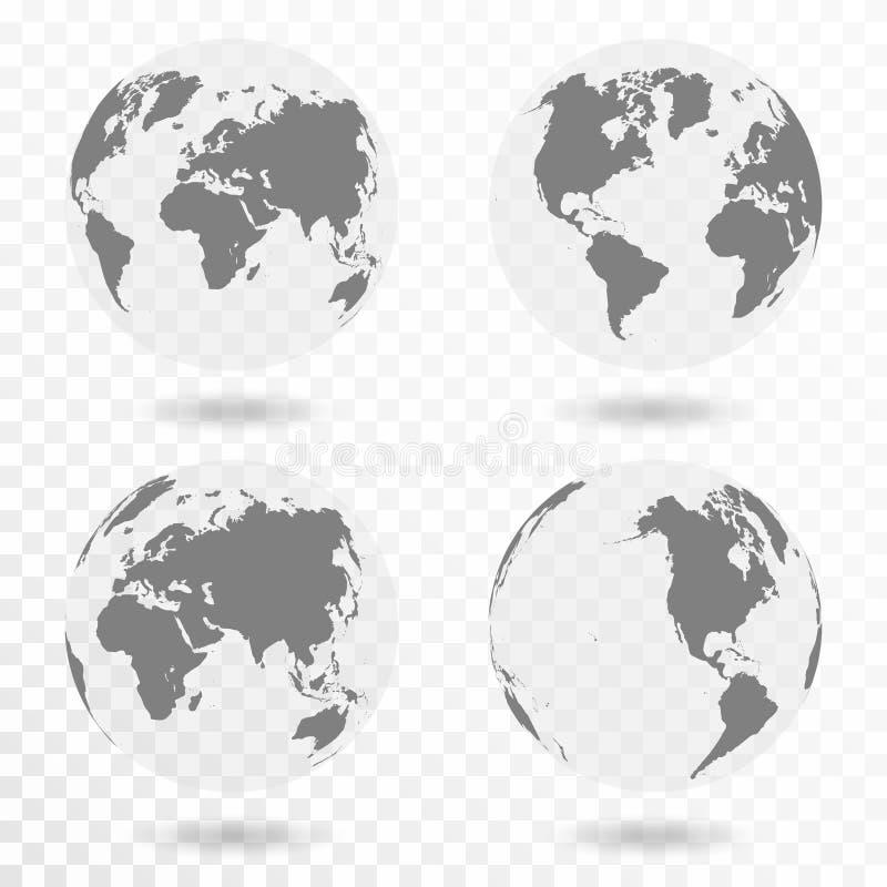 Planety ikony Ziemski set Ziemska kula ziemska odizolowywająca na przejrzystym tle royalty ilustracja