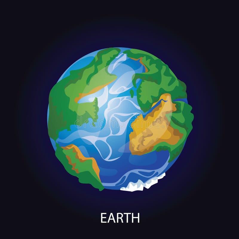 Planety kreskówki wektoru Ziemska ilustracja ilustracja wektor