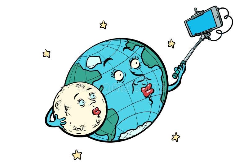 Planety księżyc i ziemi para bierze selfie Odizolowywający na białych półdupkach ilustracja wektor