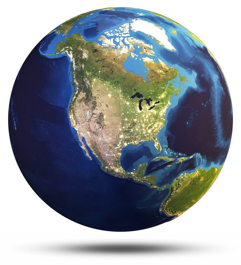 Planety kuli ziemskiej 3d Ziemski światowy rendering ilustracja wektor