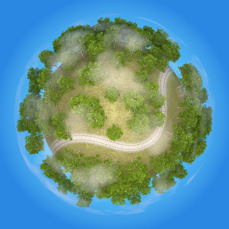Planety linia kolejowa 3D obraz stock