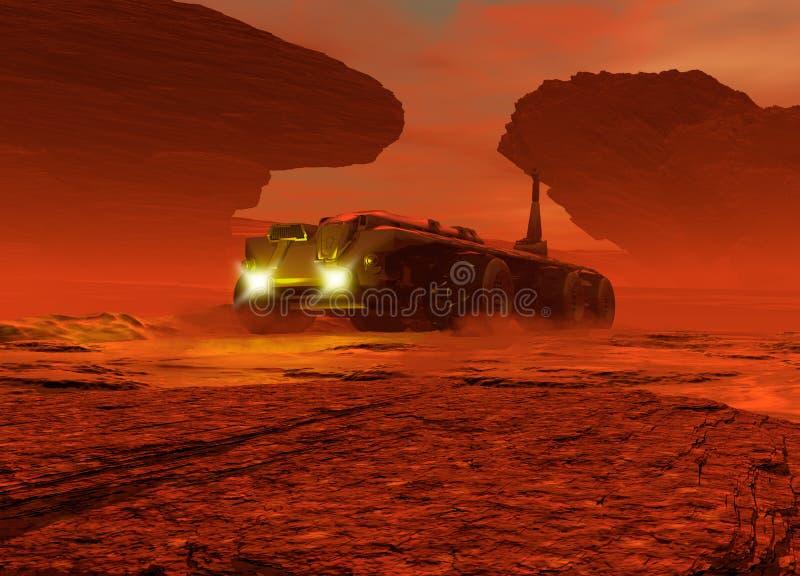 Planety Mars powierzchnia z pojazdu jeżdżeniem na ono ilustracja wektor