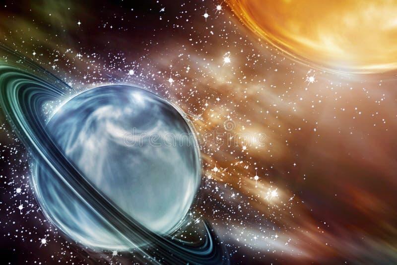 Planety nad mg?awicami w przestrzeni Pi?kny astronautyczny t?o ilustracja wektor