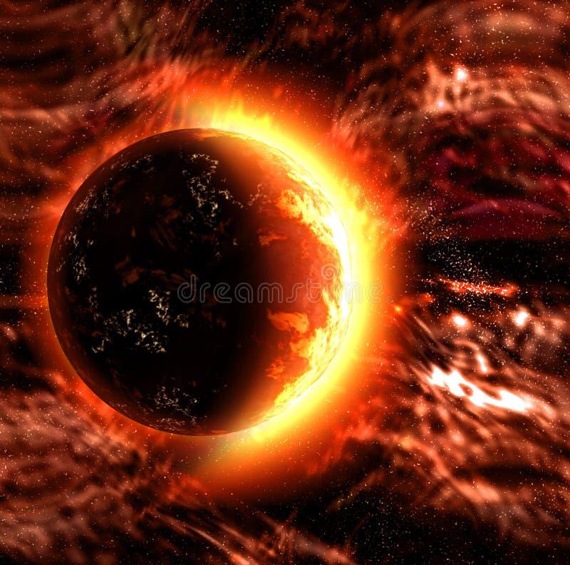 planety płonący słońce ilustracji