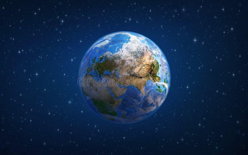 planety tła naziemnych pełne gwiazd Europa i Azja od przestrzeni royalty ilustracja