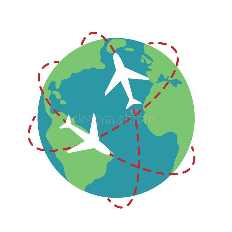 Planety trasy ścieżki kuli ziemskiej podróży mapy Ziemska samolotowa ilustracja v ilustracji