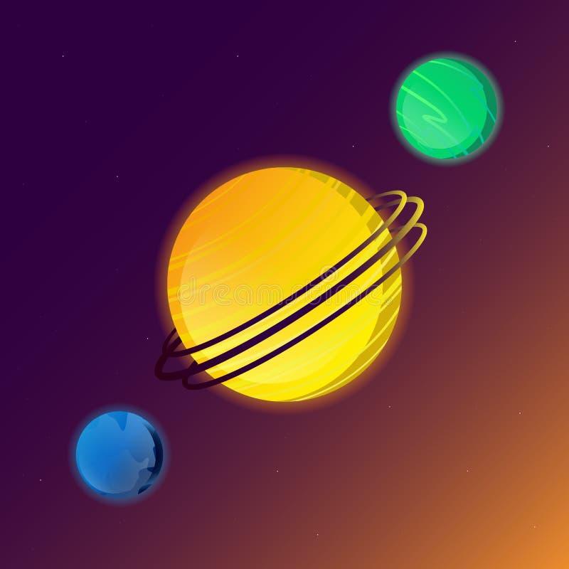 Planety układ słoneczny grają główna rolę wszechrzeczą wektorową ilustrację ilustracji