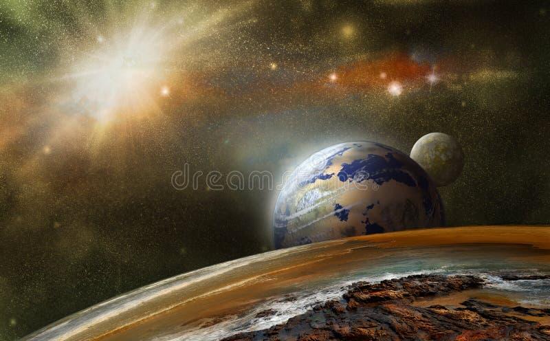 Planety w inny przestrzeń ilustracja wektor