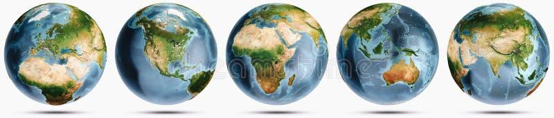 Planety ziemi jasnego kuli ziemskiej set ilustracji
