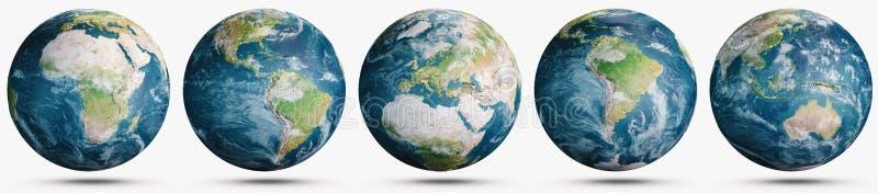Planety ziemia chmurnieje kula ziemska set ilustracja wektor