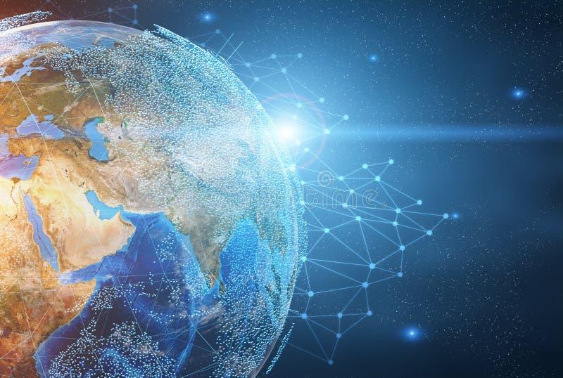 Planety ziemia i sieci nakreślenie ilustracja wektor