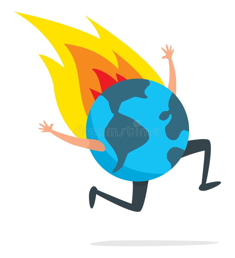 Planety ziemia na pożarniczym bieg desperacko ilustracji