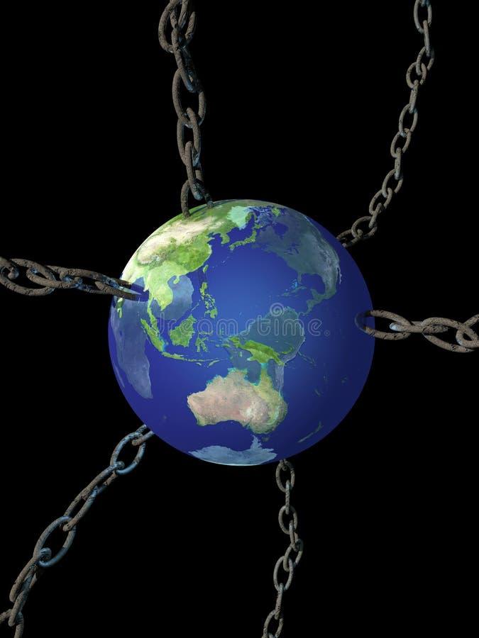 Planety ziemia w łańcuchach ilustracji