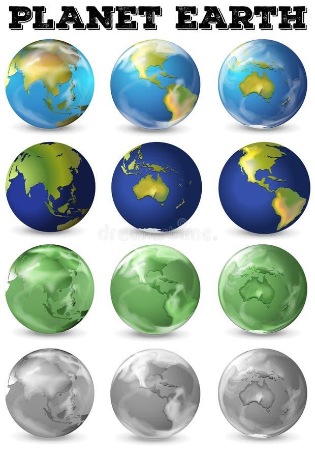 Planety ziemia w różnej formie ilustracja wektor