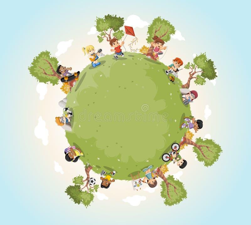 Planety ziemia z śliczny kreskówka dzieciaków bawić się ilustracji