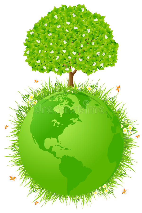 Planety ziemia z drzewem ilustracja wektor