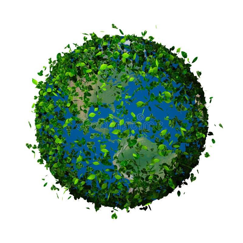 Planety ziemia zakrywająca z liśćmi Eco kula ziemska royalty ilustracja