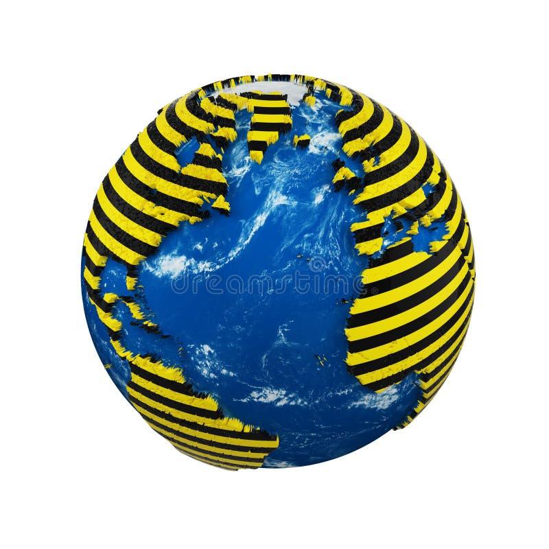 Planety ziemska kula ziemska odizolowywająca na białym tle Żółty i czarny pasiasty milicyjny ostrzegawczy zbawczy faborek Pojęcie ilustracja wektor