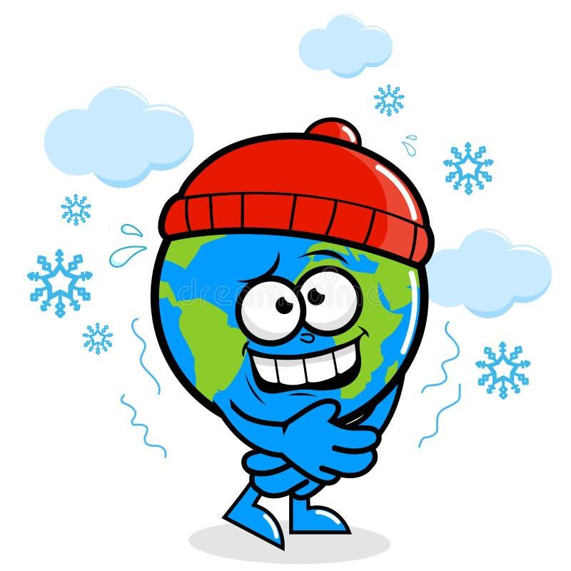 Planety ziemski dostaje zimno w zimie royalty ilustracja