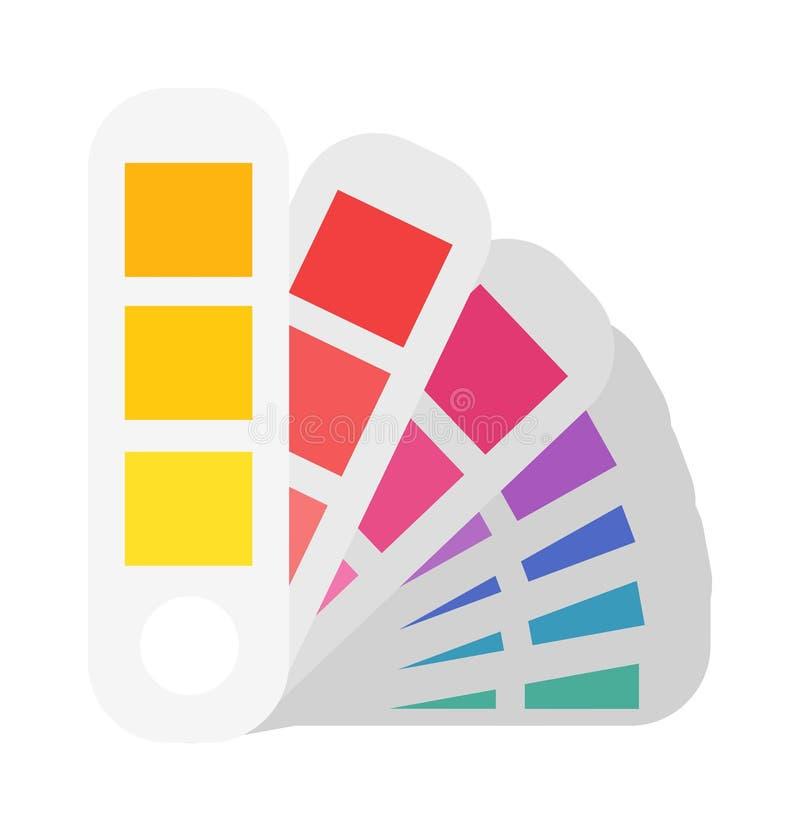 Planfarbproben, zum von Präferenzen in der Druckindustrie zu bestimmen Fan panton flache Vektorillustration lizenzfreie abbildung