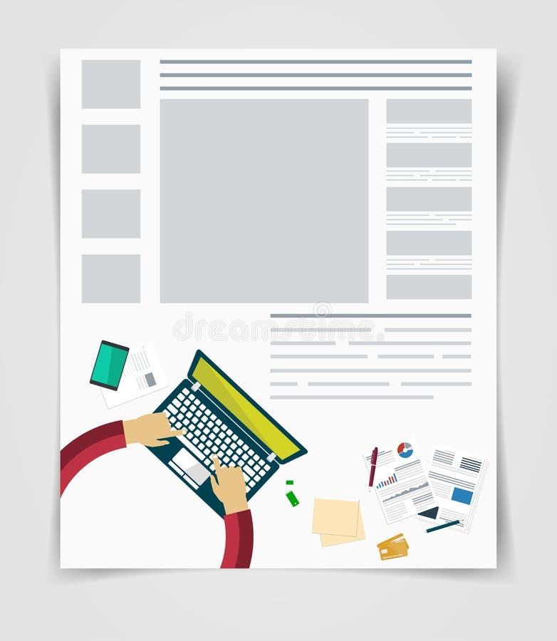 Plangeschäftsflieger- oder -broschürentechnologie, Netzschablone, infographics Statistiken stock abbildung