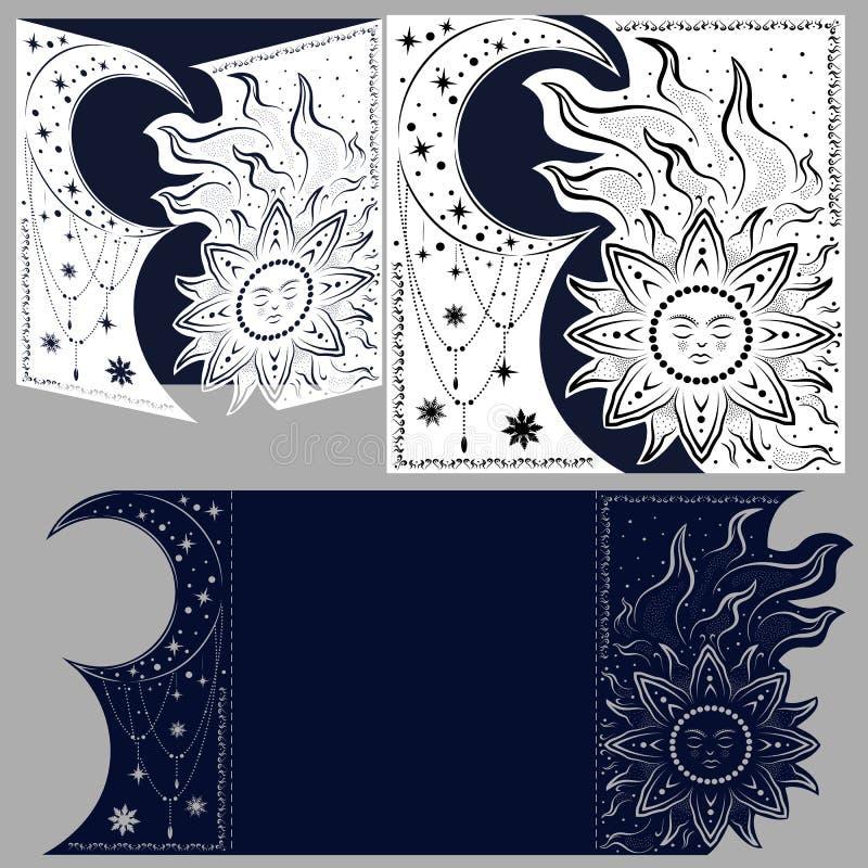 Planglückwunschumschlag mit geschnitztem Muster Die Schablone stock abbildung