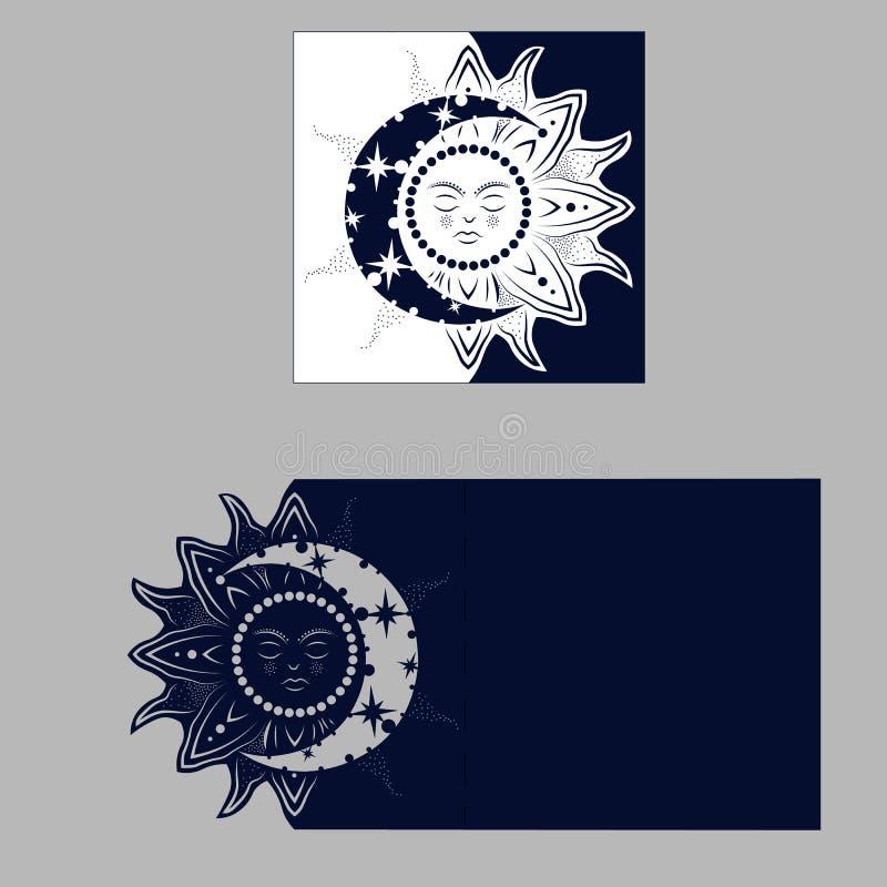 Planglückwunschumschlag mit geschnitztem Muster Die Schablone vektor abbildung