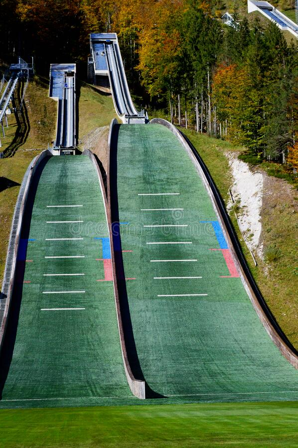 Planica Mountains Ski Jump Centre. Planica is an Alpine valley in northwestern Slovenia,  Upper Carniola region, close to the Austrian and Italian borders royalty free stock photography