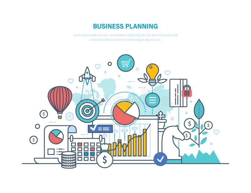 Planificación de empresas Evaluación del rendimiento, organización, control del flujo de trabajo, gestión de tiempo stock de ilustración
