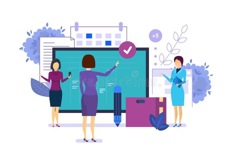Planificación de empresas, organización de hora laborable, gestión del proyecto, metodología del melé stock de ilustración