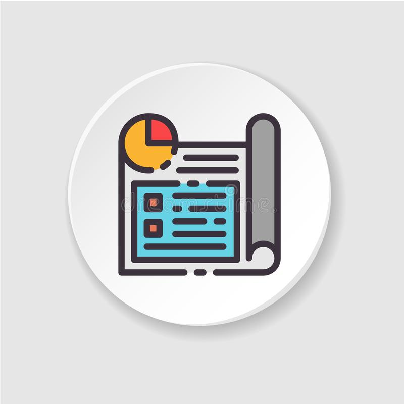 Planificación de empresas plana del icono del vector Botón para el web o el app móvil ilustración del vector