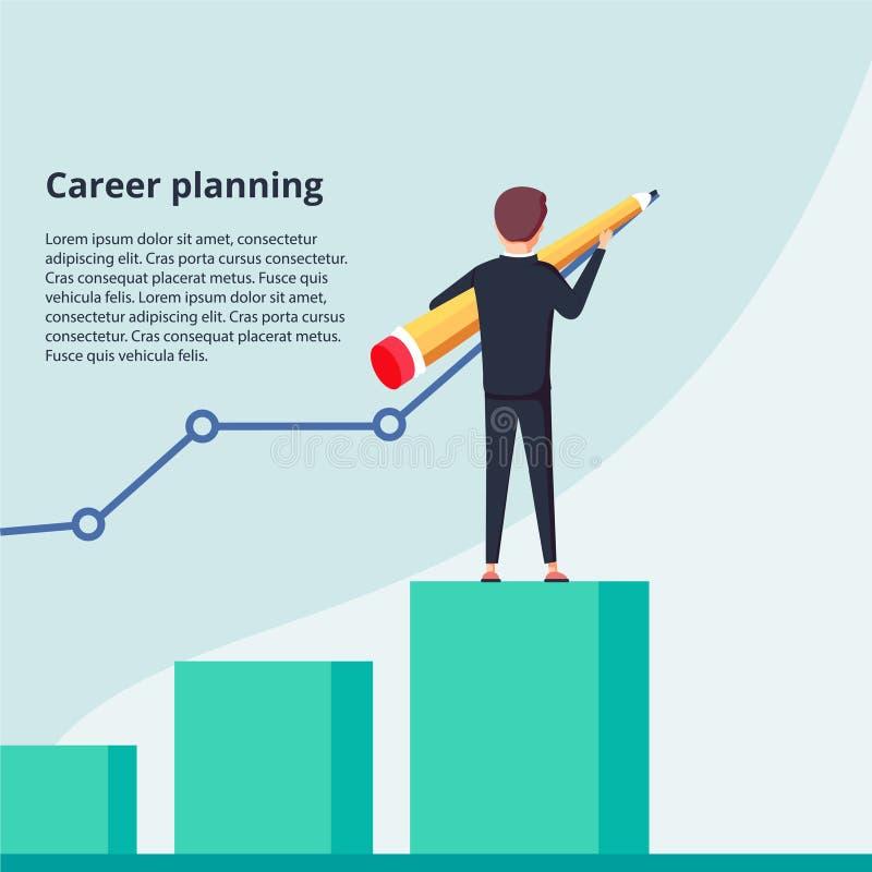 Planificación de la carrera El hombre de negocios dibuja el gráfico del crecimiento que se coloca en los pasos de las escaleras C stock de ilustración