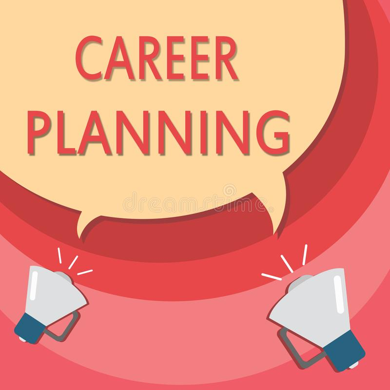 Planificación de la carrera de la escritura del texto de la escritura Concepto que significa la lista de A de metas y de medidas  libre illustration