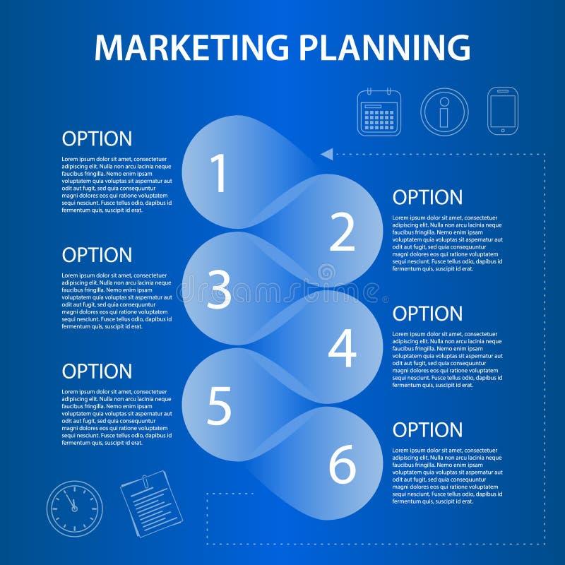 Planificación de mercados de la cronología ifographic stock de ilustración