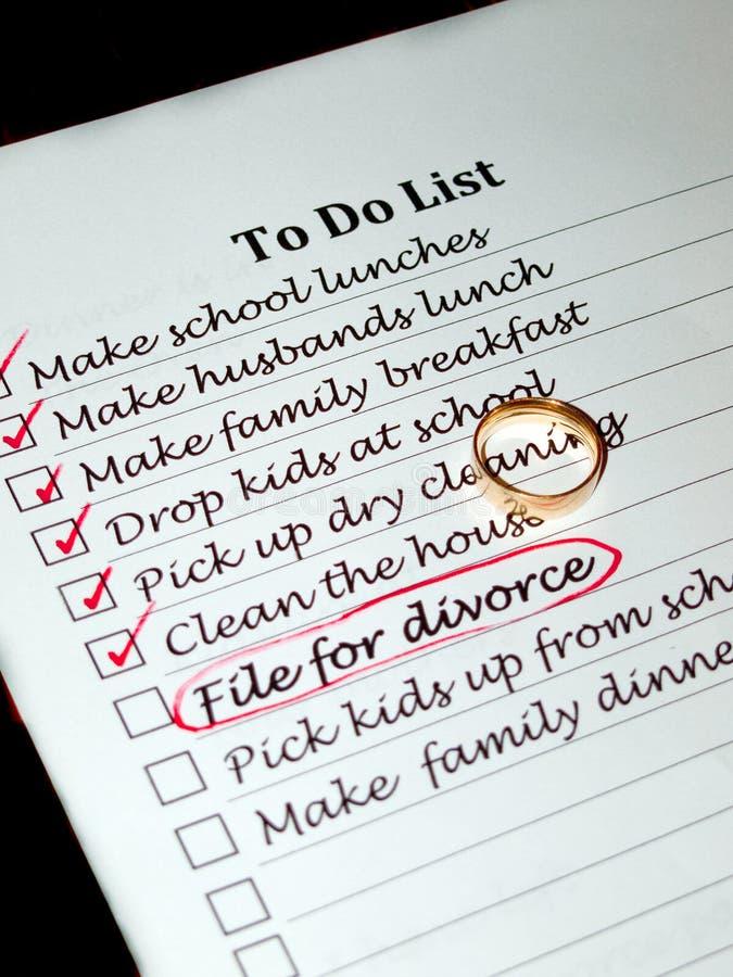 Planificación de un divorcio imagen de archivo