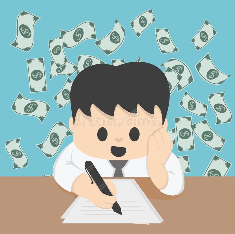 Planificación financiera del hombre de negocios en concepto del ejemplo de la tabla stock de ilustración