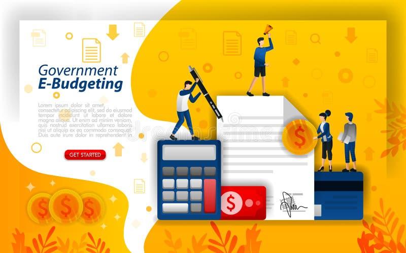 Planificación financiera en línea, presupuesto digital, gobierno en línea que presupuesta, tecnología de e-presupuesto, ilustrati ilustración del vector