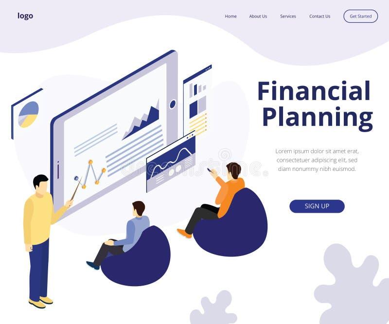 Planificación financiera para el concepto isométrico de las ilustraciones del crecimiento de dinero libre illustration