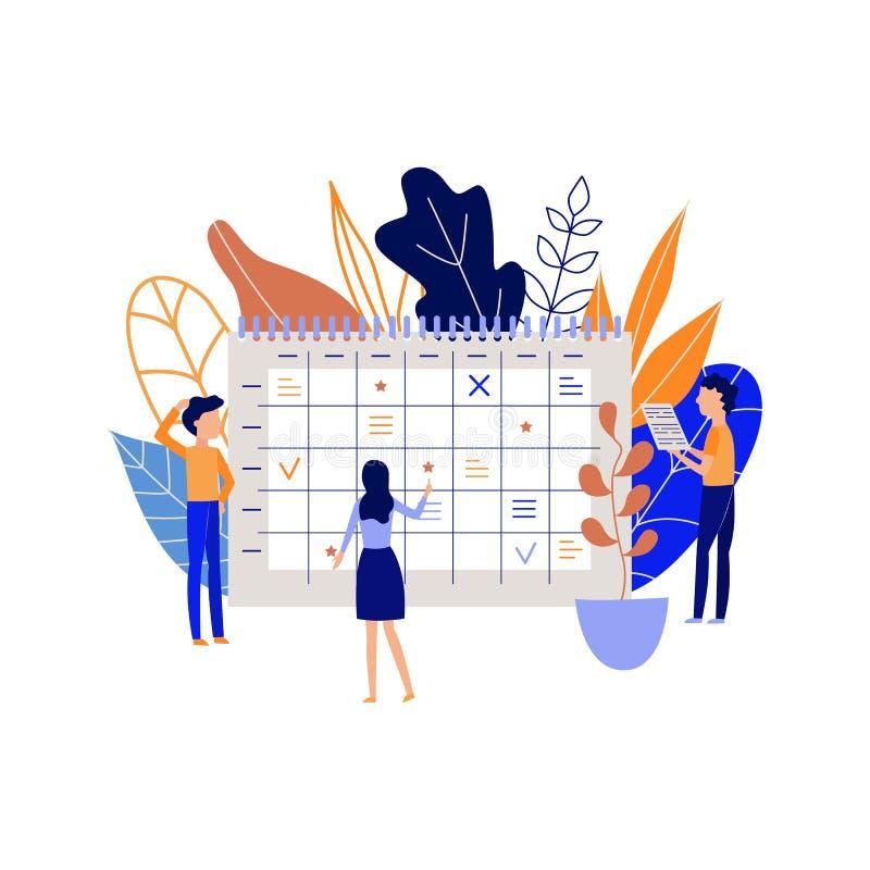 Planificación y proceso de organización del trabajo con tareas y metas de registración de la gente en calendario de escritorio gr ilustración del vector