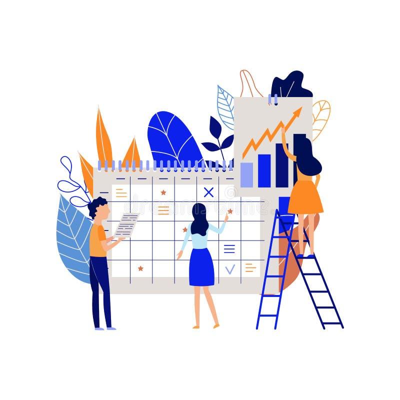 Planificación y proceso de organización del trabajo con tareas de registración de la gente en calendario y analizar la carta stock de ilustración